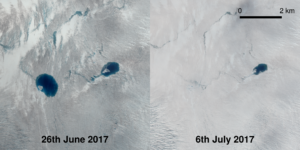 Satellite imagery shows the disappearance of a lake