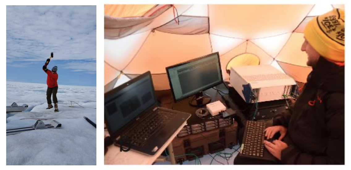 Seismic data collection: creating a source signal (left) and watching the data come in (right).